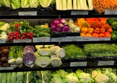 Shelves of fresh vegetables